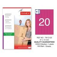 Tanex TW-2120 31x14mm Pembe Pastel Laser Etiket 100 Lü