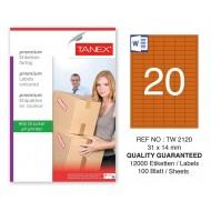 Tanex TW-2120 31x14mm Turuncu Pastel Laser Etiket 100 Lü