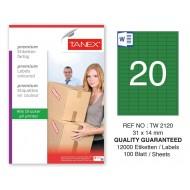 Tanex TW-2120 31x14mm Yeşil Pastel Laser Etiket 100 Lü