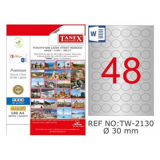 Tanex TW-2130 30mm Gümüş Lazer Etiket 1200 Lü