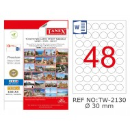 Tanex TW-2130 30mm Kuşe Laser Etiket 100 Lü Paket