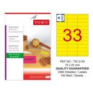 Tanex TW-2133 70x25 mm Sarı Floresan Laser Etiket 100 Lü