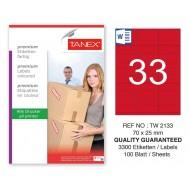 Tanex TW-2133 70x25mm Kırmızı Pastel Laser Etiket 100 Lü