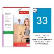 Tanex TW-2133 70x25mm Mavi Pastel Laser Etiket 100 Lü