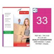 Tanex TW-2133 70x25mm Pembe Pastel Laser Etiket 100 Lü