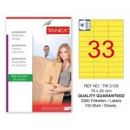 Tanex TW-2133 70x25mm Sarı Pastel Laser Etiket 100 Lü Paket