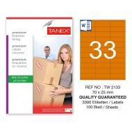 Tanex TW-2133 70x25mm Turuncu Pastel Laser Etiket 100 Lü
