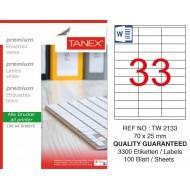 Tanex TW-2133 Laser Etiket 70 x 25 mm