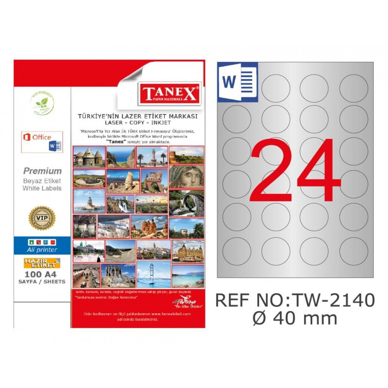 Tanex TW-2140 40mm Gümüş Lazer Etiket 600 Lü