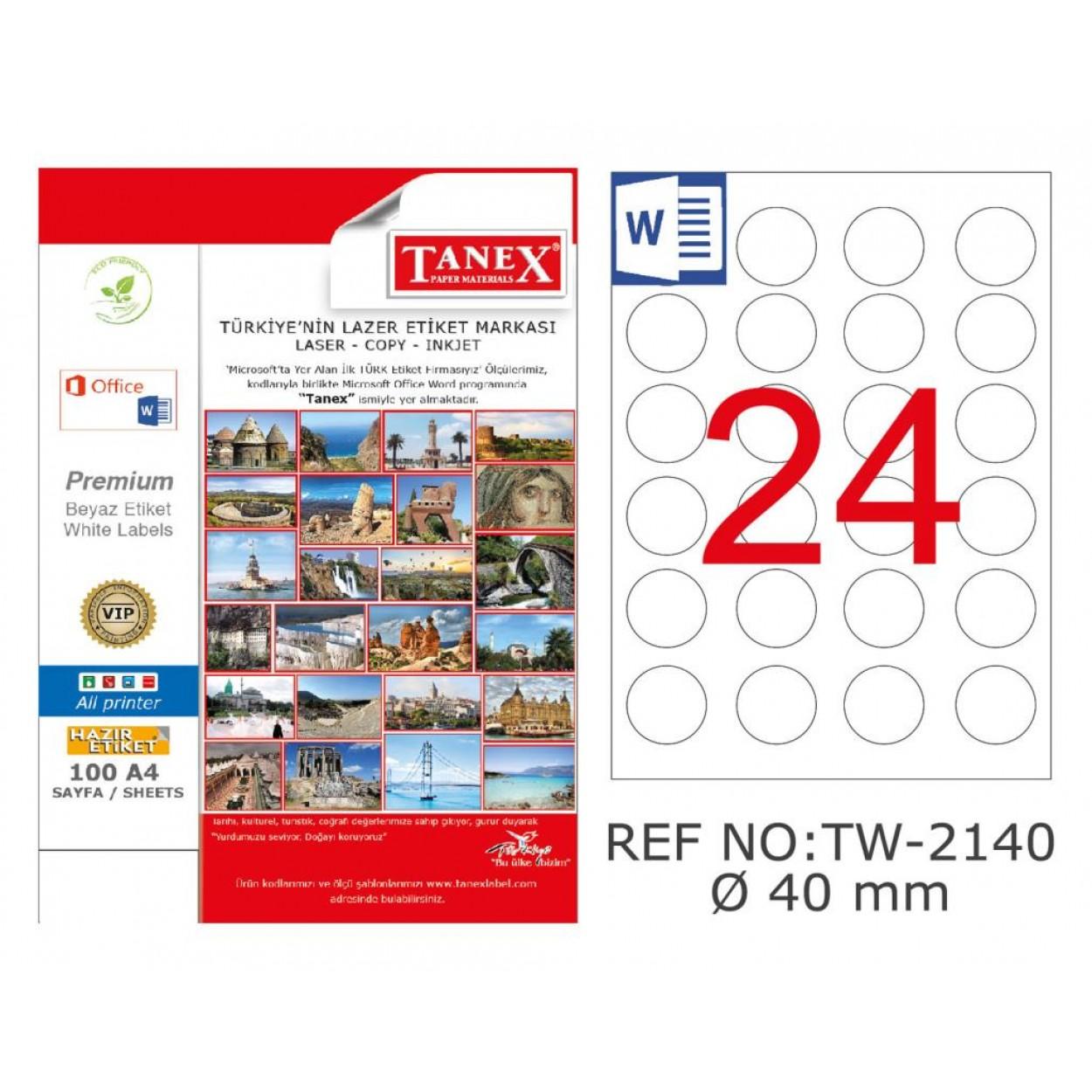 Tanex TW-2140 40mm Kuşe Laser Etiket 100 Lü Paket