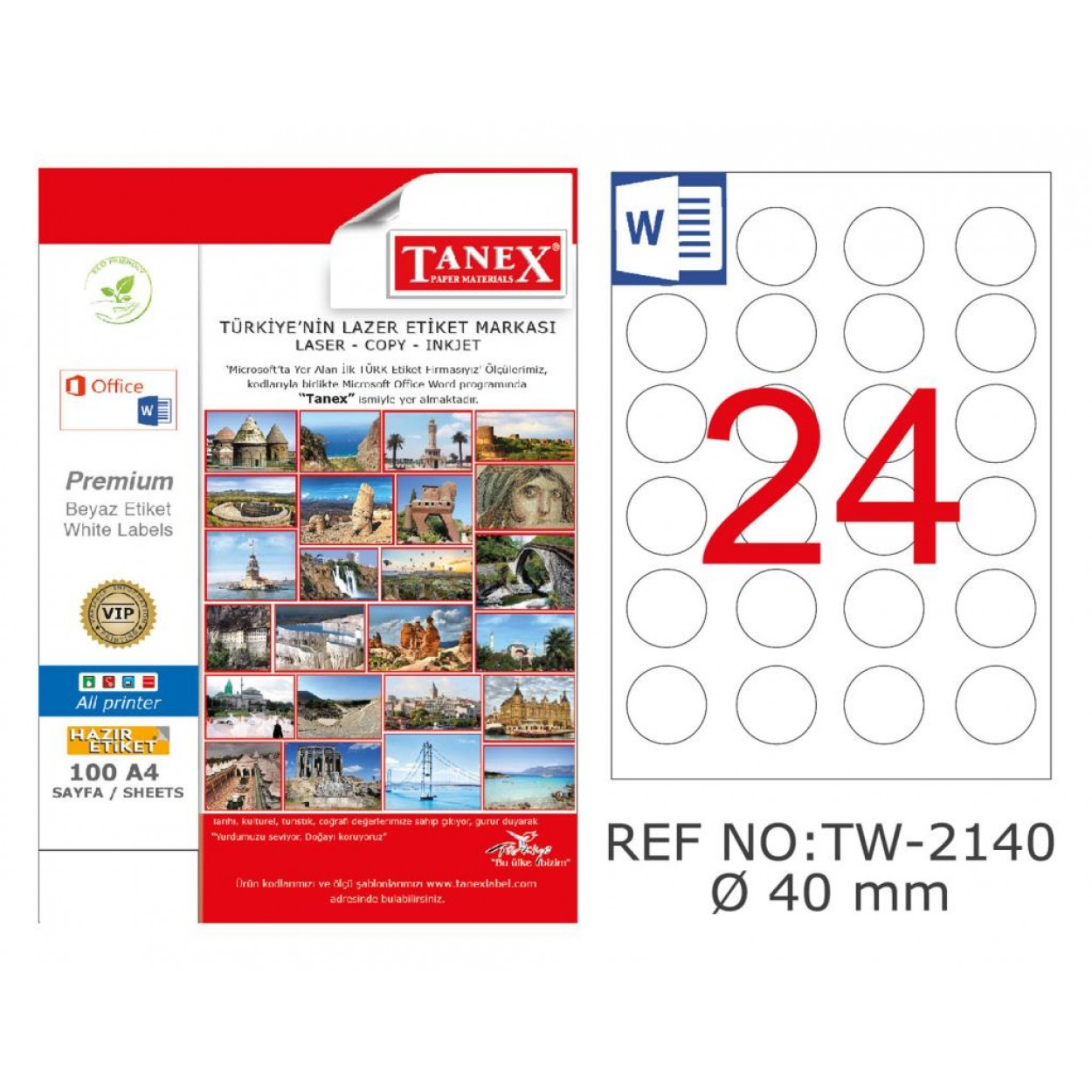 Tanex TW-2140 40mm Polyester Etiket 25 Li