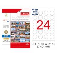 Tanex TW-2140 40mm Şeffaf Laser Etiket 600 Lü