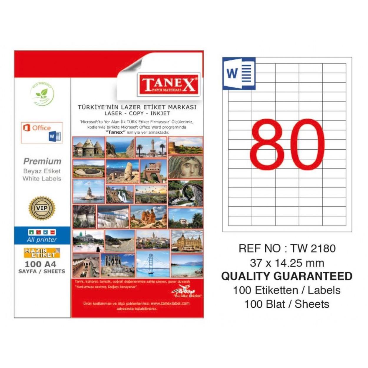 Tanex TW-2180 Laser Etiket 37 x 14.25 mm