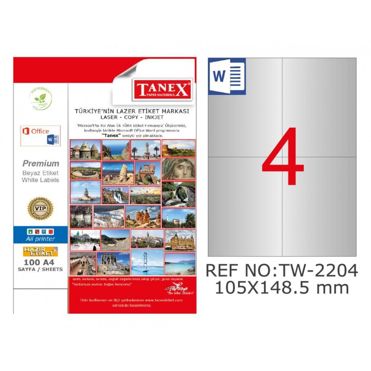 Tanex TW-2204 105x148.5mm Gümüş Lazer Etiket 100 Lü