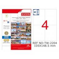 Tanex TW-2204 105x148.5mm Şeffaf Laser Etiket 100 Lü
