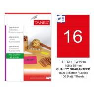 Tanex TW-2216 105x35mm Kırmızı Floresan Laser Etiket 100 Lü
