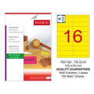 Tanex TW-2216 105x35mm Sarı Floresan Laser Etiket 100 Lü