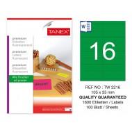 Tanex TW-2216 105x35mm Yeşil Floresan Laser Etiket 100 Lü