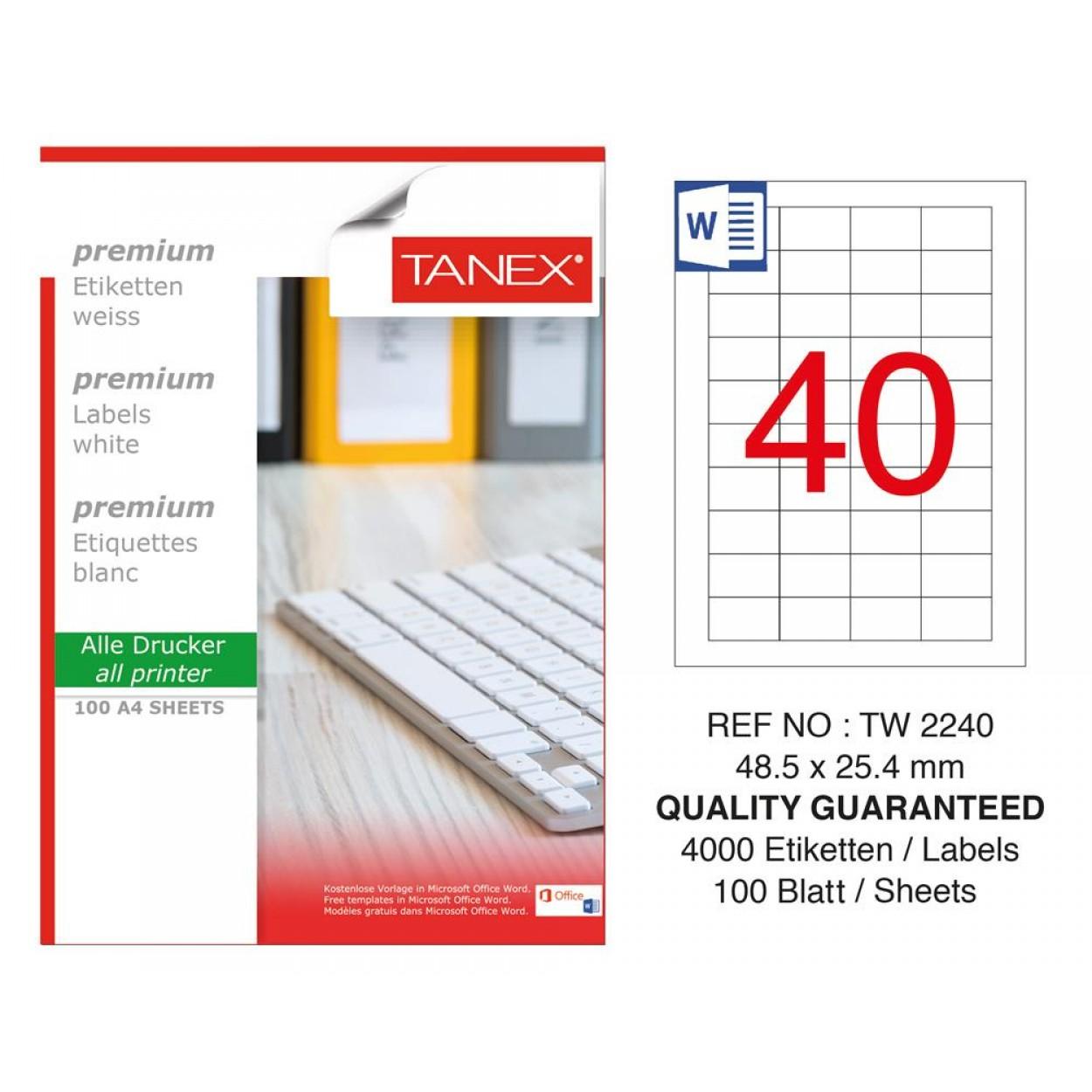 Tanex TW-2240 Laser Etiket 48.5 x 25.4 mm