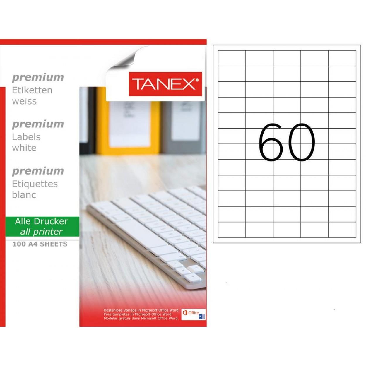 Tanex TW-2260 40x24mm Laser Etiket 100 Lü