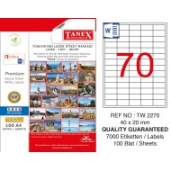 Tanex TW- 2270 Laser Etiket 100 Lü Paket