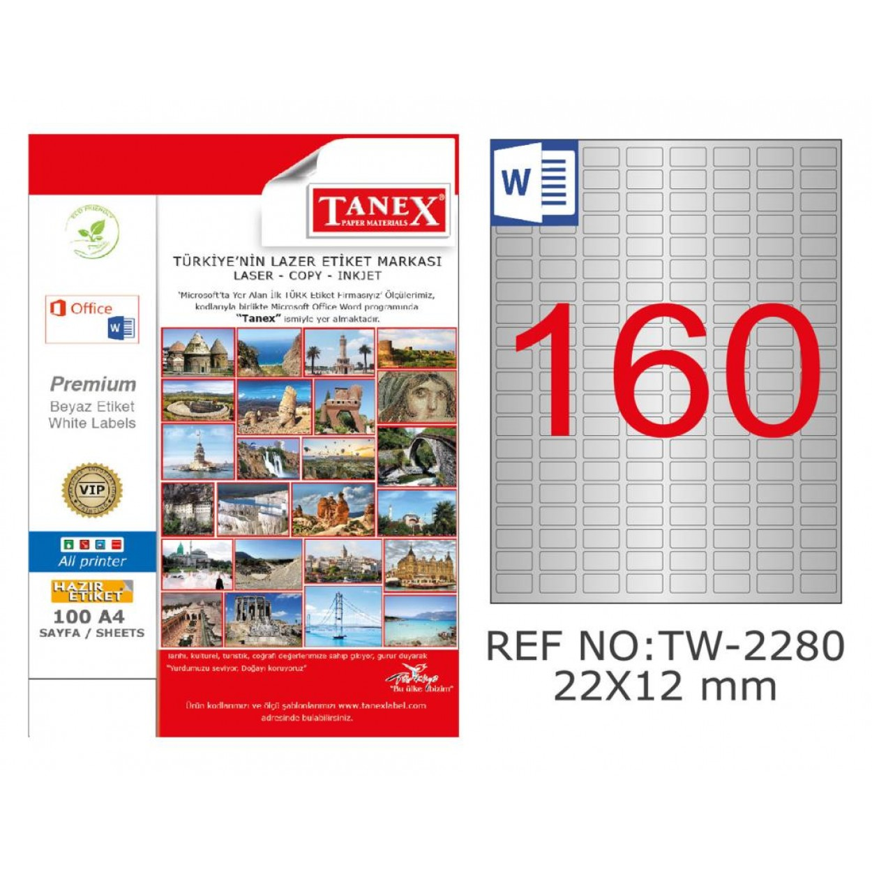 Tanex TW-2280 22x12mm Gümüş Lazer Etiket 4000 Li