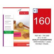 Tanex TW-2280 22x12mm Kırmızı Floresan Laser Etiket 100 Lü
