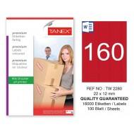 Tanex TW-2280 22x12mm Kırmızı Pastel Laser Etiket 100 Lü