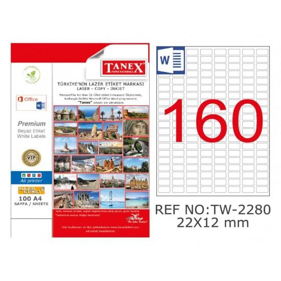 Tanex TW-2280 22x12mm Kuşe Laser Etiket 100 Lü Paket