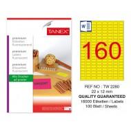 Tanex TW-2280 22x12mm Sarı Floresan Laser Etiket 100 Lü