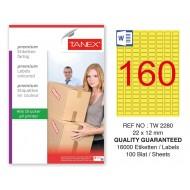 Tanex TW-2280 22x12mm Sarı Pastel Laser Etiket 100 Lü Paket