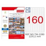Tanex TW-2280 22x12mm Şeffaf Laser Etiket 4000 Li
