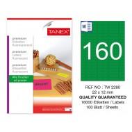 Tanex TW-2280 22x12mm Yeşil Floresan Laser Etiket 100 Lü