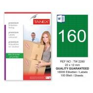Tanex TW-2280 22x12mm Yeşil Pastel Laser Etiket 100 Lü