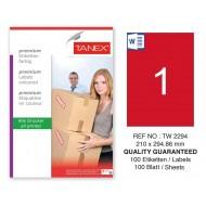 Tanex TW-2294 210x294,86mm Kırmızı Pastel Laser Etiket 100 Lü