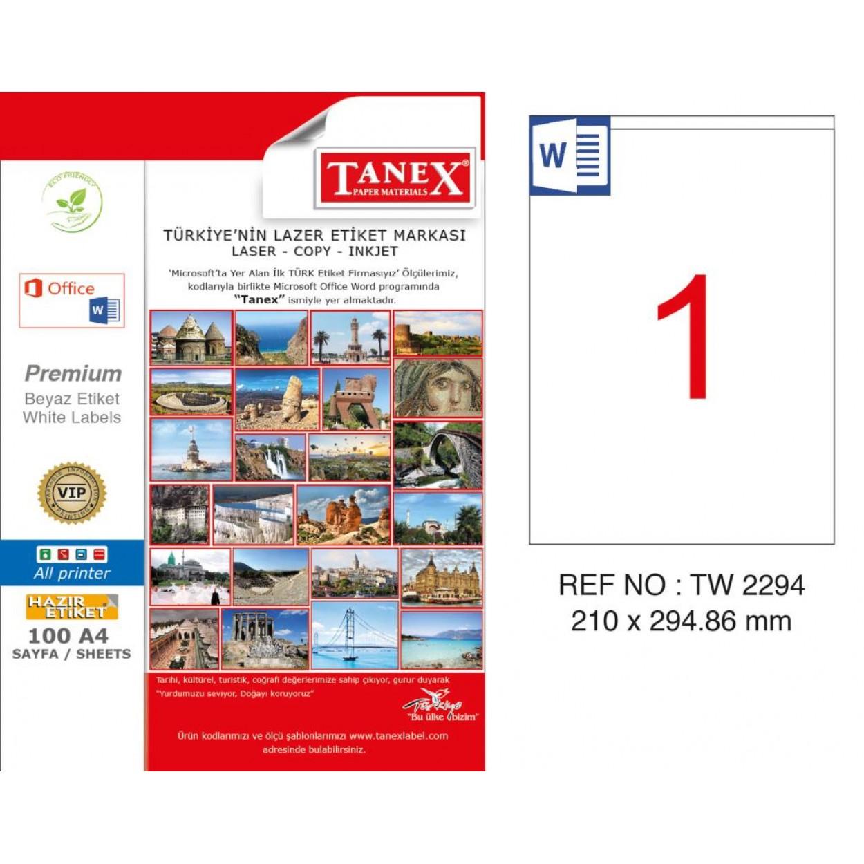 Tanex TW-2294 210x294.86mm Kuşe Lazer Etiket 100 Lü Paket