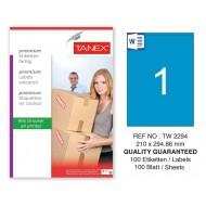 Tanex TW-2294 210x294,86mm Mavi Pastel Laser Etiket 100 Lü