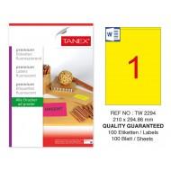 Tanex TW-2294 210x294,86mm Sarı Floresan Laser Etiket 100 Lü