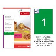 Tanex TW-2294 210x294,86mm Yeşil Floresan Laser Etiket 100 Lü