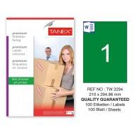 Tanex TW-2294 210x294,86mm Yeşil Pastel Laser Etiket 100 Lü