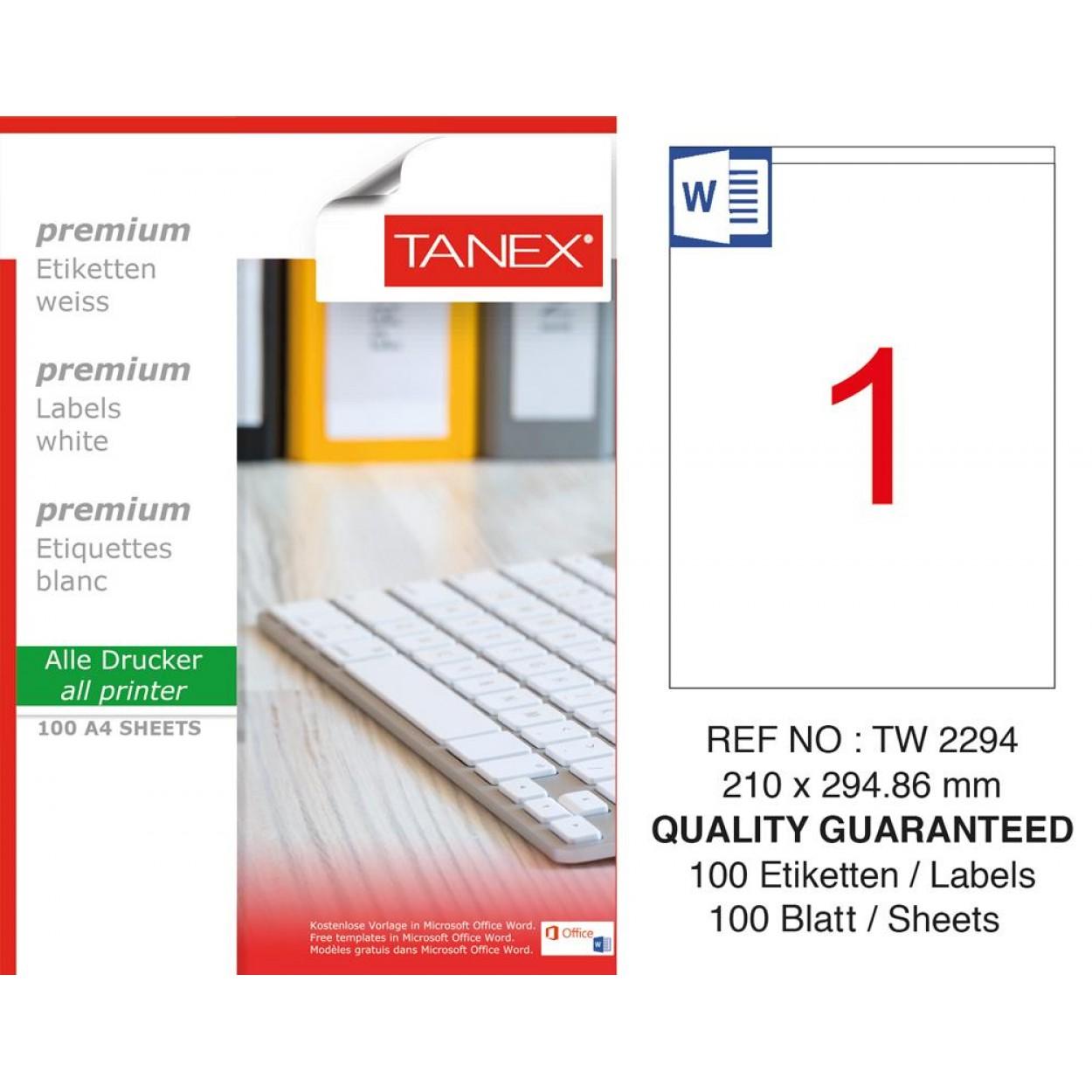 Tanex TW-2294 Laser Etiket  210 x 294,86 mm