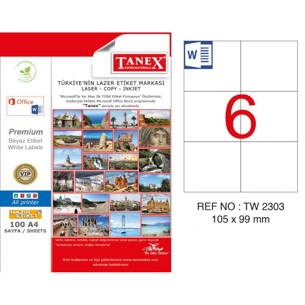 Tanex TW-2303 105x99mm Kuşe Lazer Etiket 100 Lü Paket