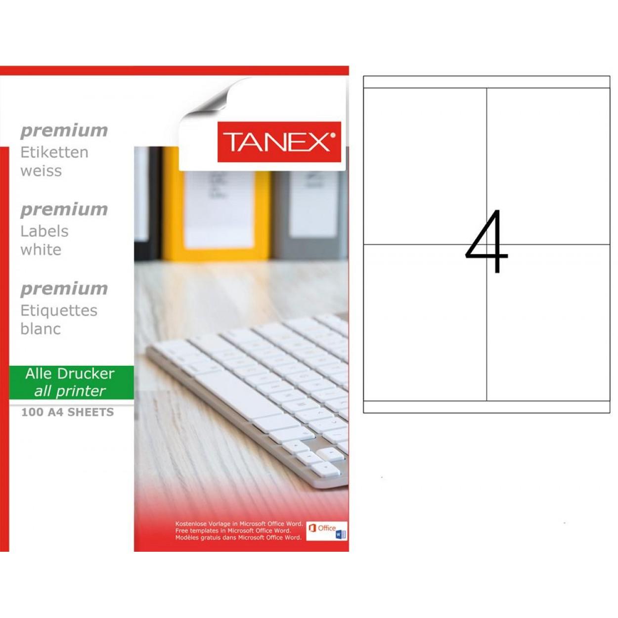 Tanex TW-2304 105x140mm Beyaz Lazer Etiket 100 Lü Paket