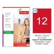Tanex TW-2312 70x70mm Kırmızı Pastel Laser Etiket 100 Lü