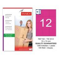 Tanex TW-2312 70x70mm Pembe Pastel Laser Etiket 100 Lü