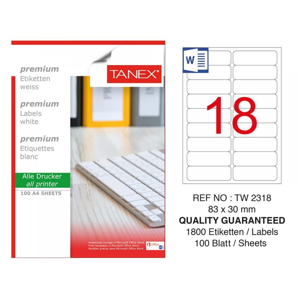 Tanex TW-2318 Laser Etiket 100 Lü Paket