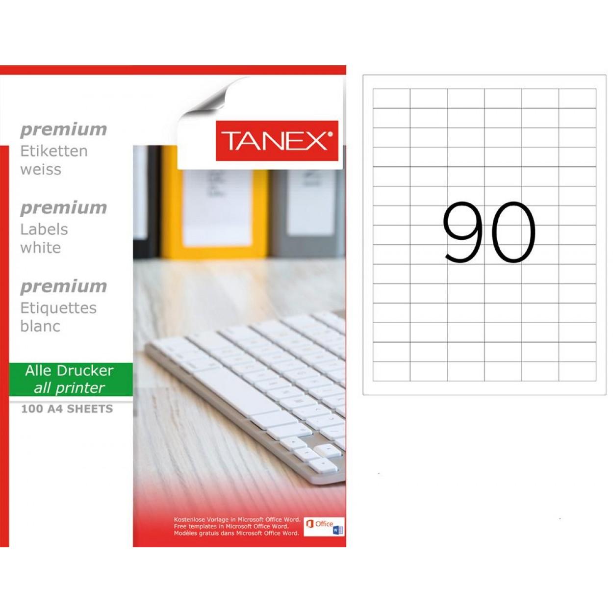 Tanex TW-2319 33x19mm Beyaz Lazer Etiket 100 Lü Paket