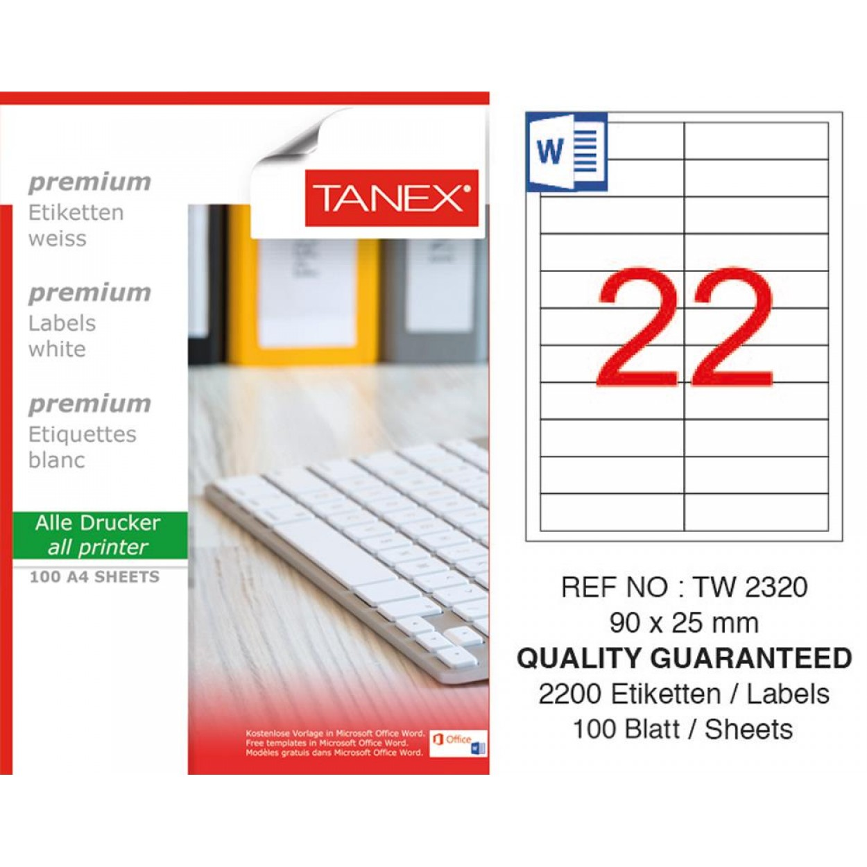 Tanex TW-2320 90x25mm Beyaz Lazer Etiket 100 Lü Paket