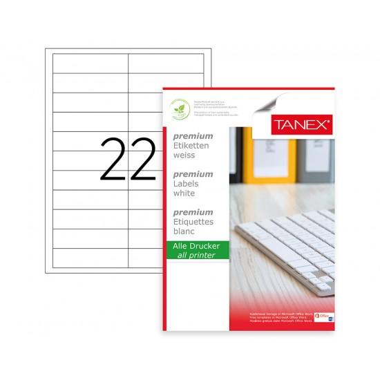 Tanex TW-2320 90x25mm Kuşe Lazer Etiket 100 Lü Paket