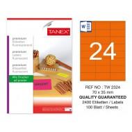 Tanex TW-2324 70x35mm Turuncu Floresan Laser Etiket 100 Lü